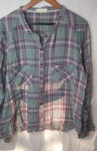 Gilded Intent Purple Plaid Flannel Top XL Plus